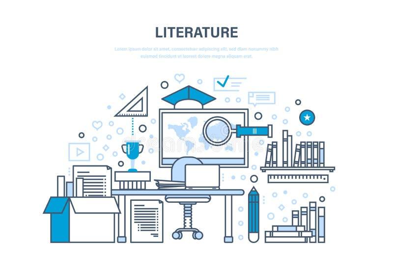 Bildande och vetenskaplig litteratur, forskningsarbeten, kunskapsgrund, referensmaterial royaltyfri illustrationer