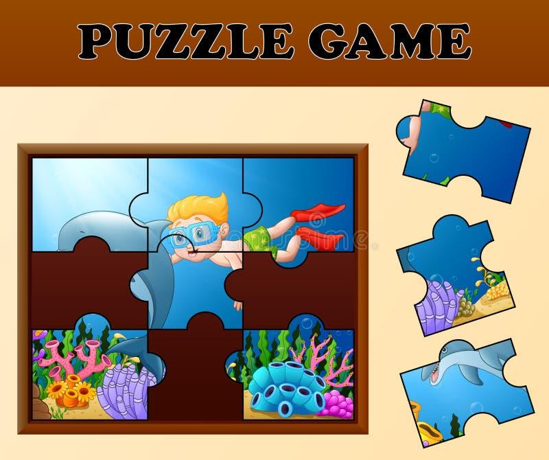 Bildande pussellek för förskole- barn med tecknad filmpojkedykning och delfin i den härliga undervattens- världen vektor illustrationer