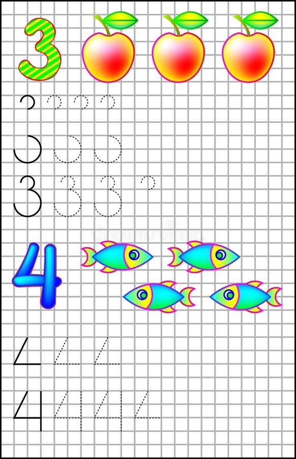 Bildande sida för barn på ett fyrkantigt papper med nummer 3 och 4 royaltyfri illustrationer