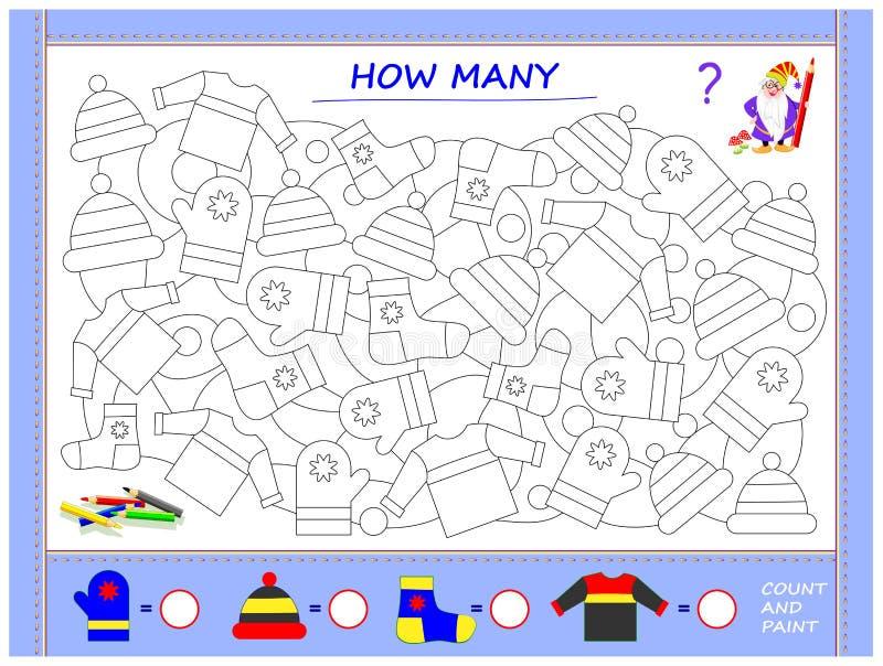 Bildande sida för små barn på matematik Finna djur, måla dem, räkna antalet och skriv nummer i cirklar royaltyfri illustrationer