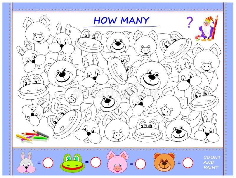 Bildande sida för små barn på matematik Finna djur, måla dem, räkna antalet och skriv nummer i cirklar vektor illustrationer