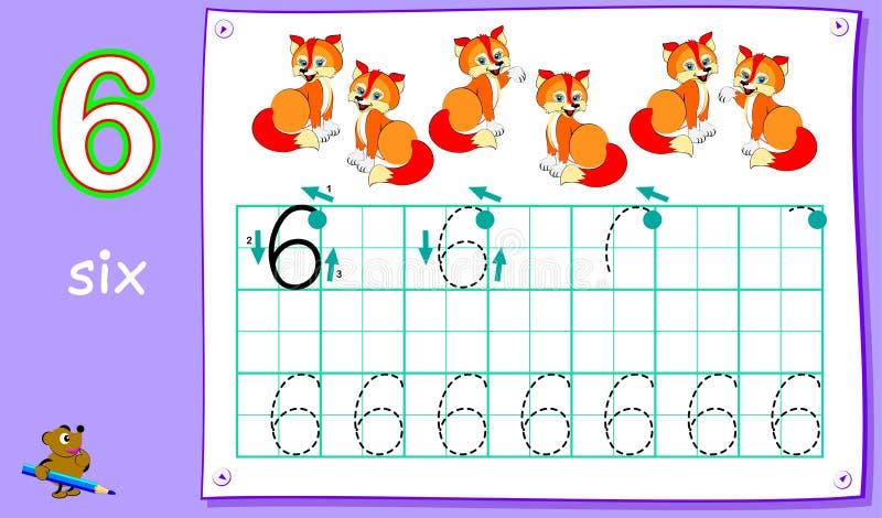 Bildande sida för unga barn med nummer sex Framkallande expertis för att skriva och att räkna vektor illustrationer