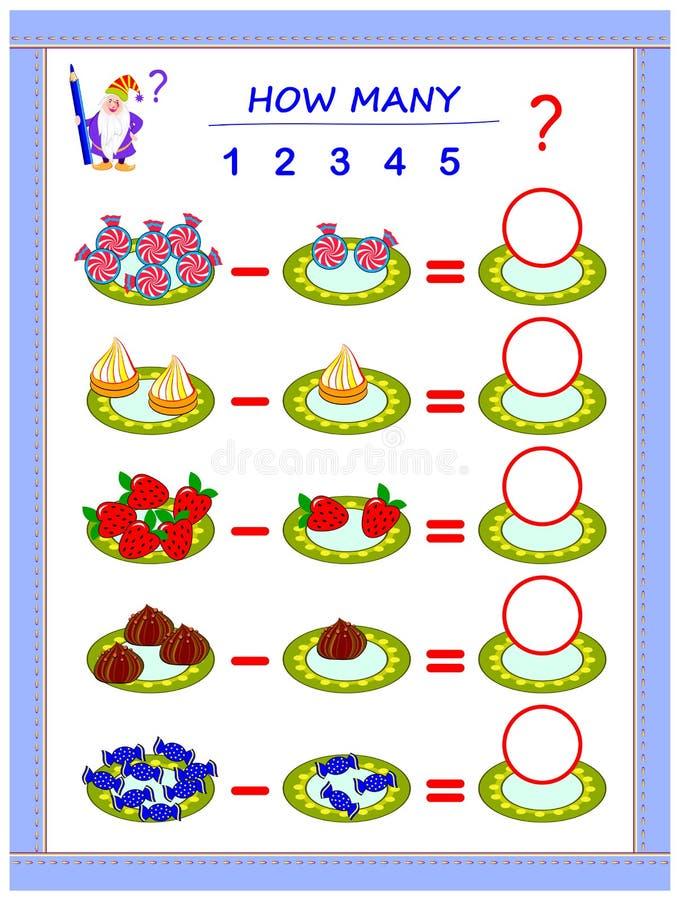Bildande sida f?r barn p? subtraktion Lös exempel, räkna antalet av sötsaker och skriv nummer i cirklar vektor illustrationer