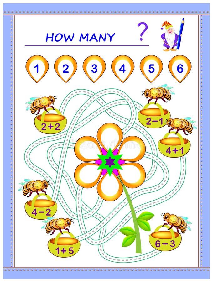 Bildande sida f?r barnmatematikbok med ?vningar p? till?gg och subtraktion Beh?v l?sa exempel och skriva nummer royaltyfri illustrationer