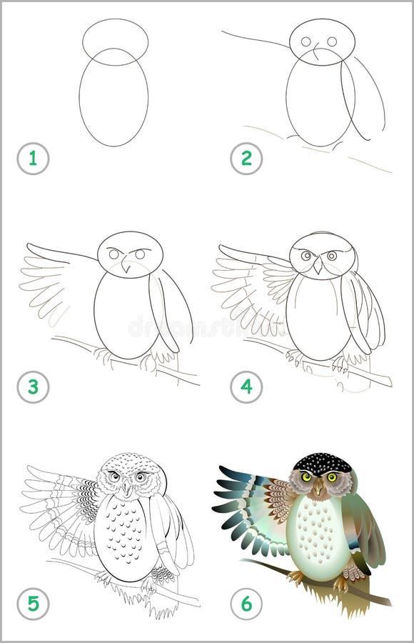 Bildande sida f?r ungar Hur man drar stegvis en gullig uggla tillbaka skola till stock illustrationer