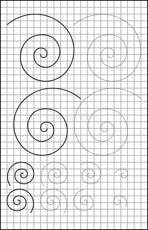 Bildande sida med övningar för barn på ett fyrkantigt papper stock illustrationer