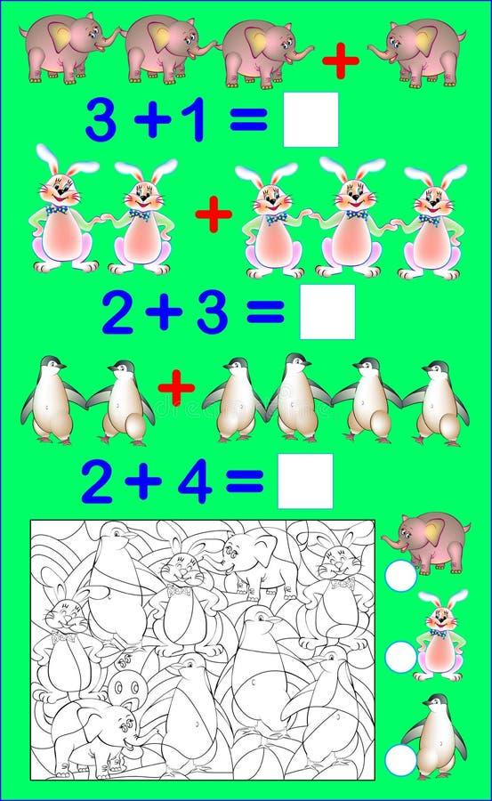 Bildande sida med övningar för barn på tillägg Lös exempel Räkna numret av gömda djur och skriv numren royaltyfri illustrationer