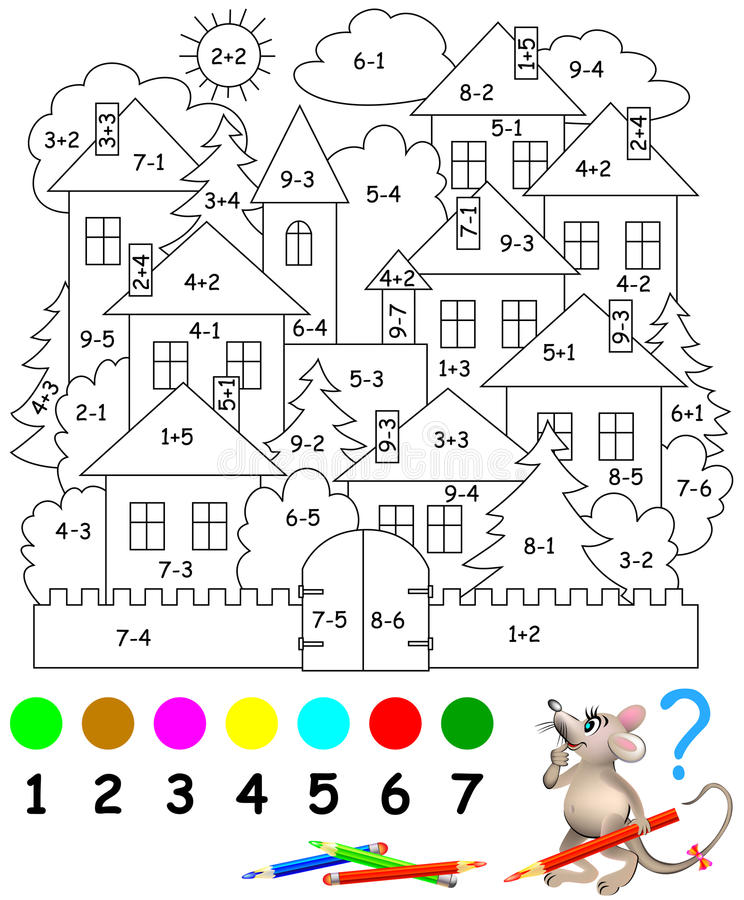 Bildande sida med övningar för barn på tillägg och subtraktion Behov att lösa exempel och att måla bilden i relevan vektor illustrationer