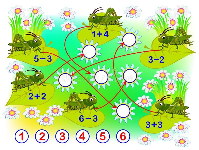 Bildande sida med ?vningar f?r barn p? till?gg och subtraktion L?s exempel och attraktionnummer i cirklar vektor illustrationer