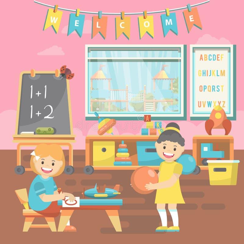 Bildande vektorillustration för dagis med leksaker och förskole- tillförsel i plan design royaltyfri illustrationer