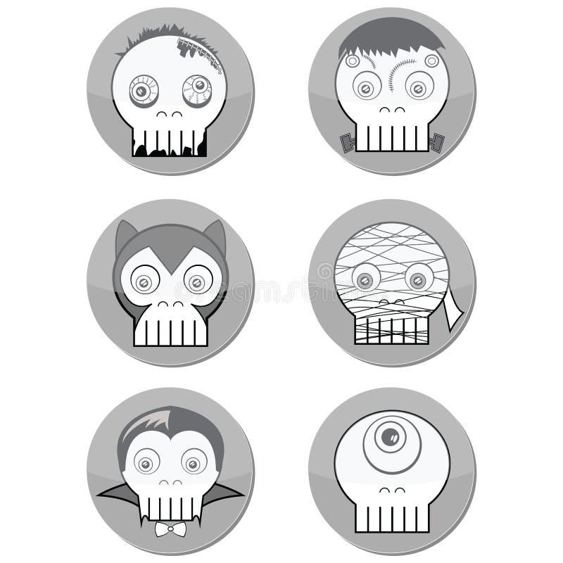Bildar gigantiska skallar för svartvit allhelgonaafton liksom vampyr, levande död, den Woolf mannen, cyclops och mamma i knapp me stock illustrationer