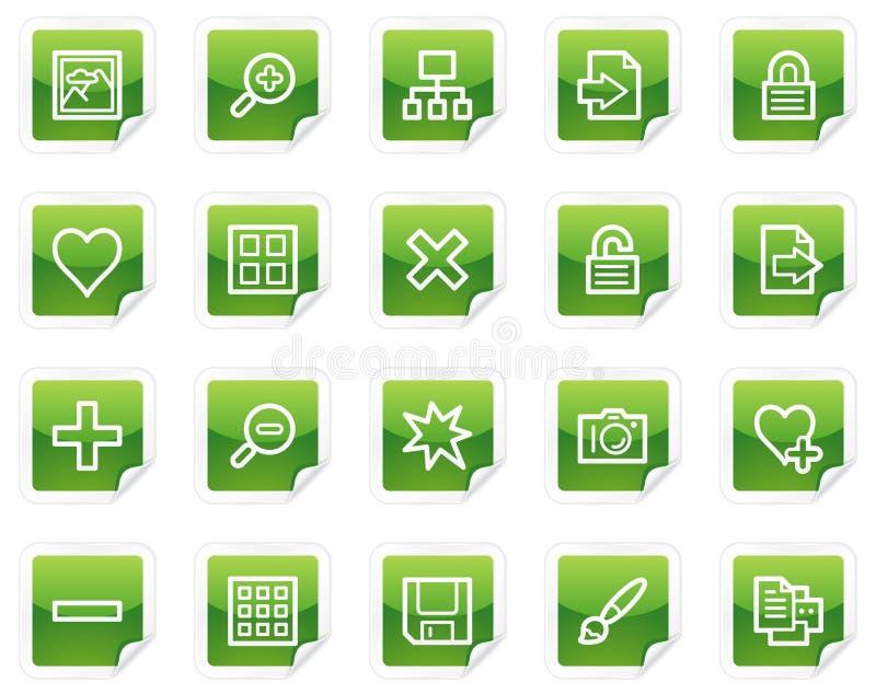 Bildbibliotheksweb-Ikonen, grüne Aufkleberserie stock abbildung