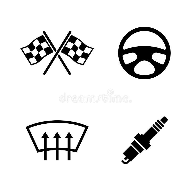 Bildelar Enkla släkta vektorsymboler royaltyfri illustrationer