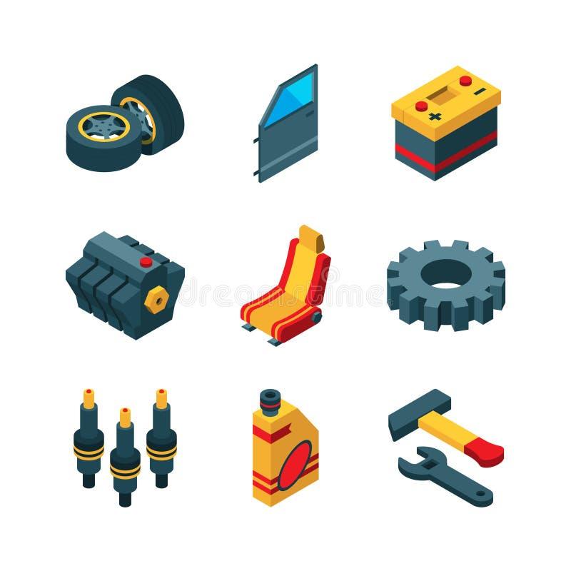 Bildelar Samling för symbol för vektor för rör för avgasrör för hjul för styrning för överföring för bilhjälpmedelmotor isometris vektor illustrationer