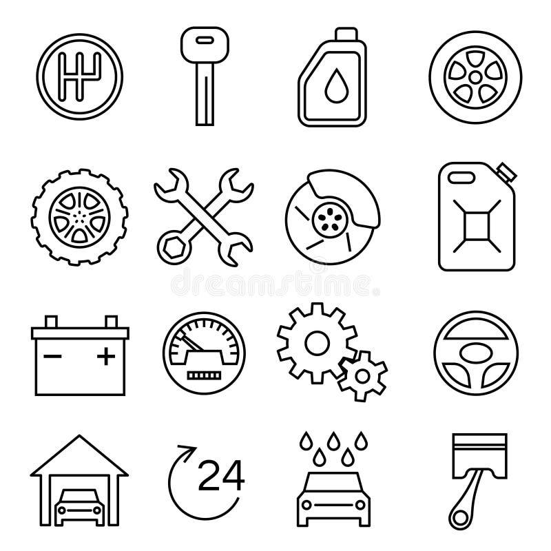 Bildelar, service, den tunna linjen vektorsymboler för den auto reparationen ställde in stock illustrationer