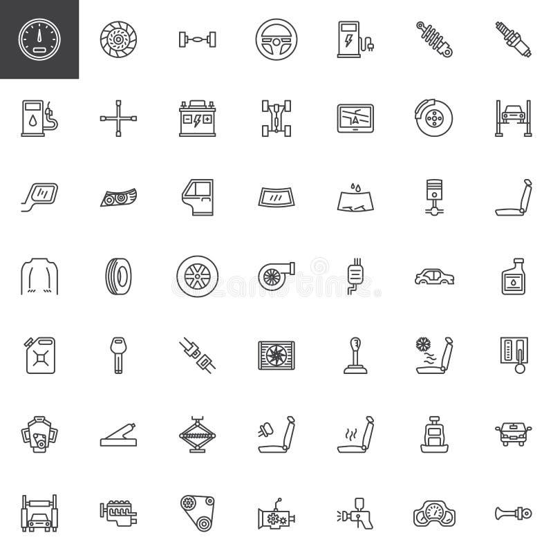 Bildellinje symbolsuppsättning stock illustrationer