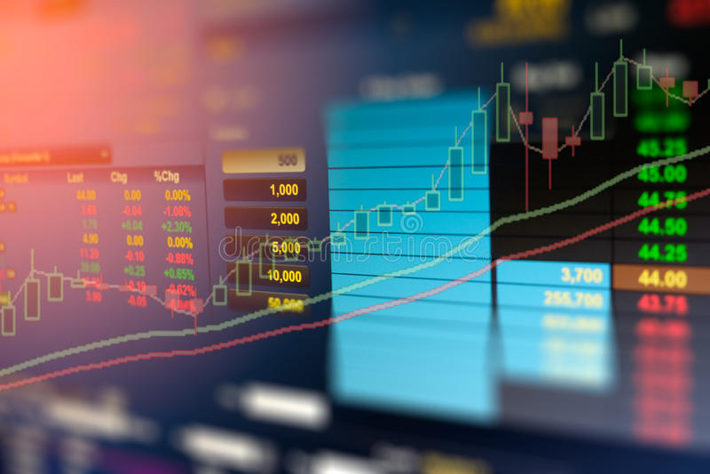 Bilden av affärsgrafen och handelbildskärmen av investeringen i den guld- handeln, aktiemarknaden, framtider - marknadsföra, den  royaltyfri bild
