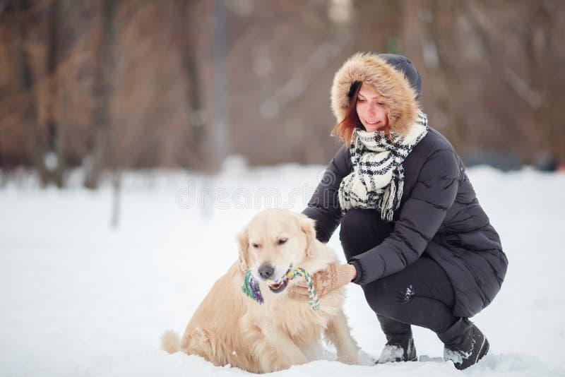 Bilden av att le kvinnan som squatting bredvid labrador med leksaken i tänder i vinter, parkerar royaltyfri bild