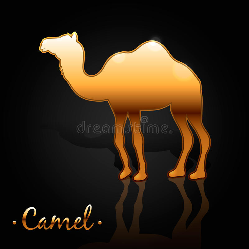 Bilden av en guld- kamel stock illustrationer