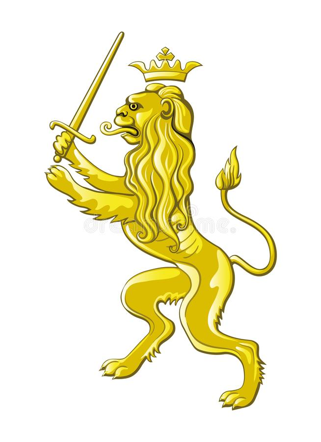Bilden av ett guld- heraldiskt lejon stock illustrationer