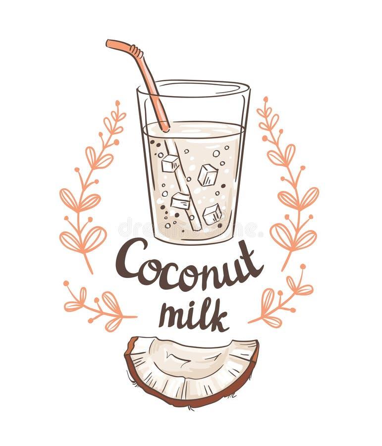Bilden av halvan en kokosnöt och kokosnöten mjölkar vektor illustrationer
