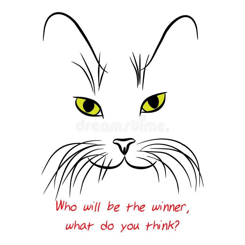 Bilden av katten tystar ned med långa morrhår också vektor för coreldrawillustration vektor illustrationer