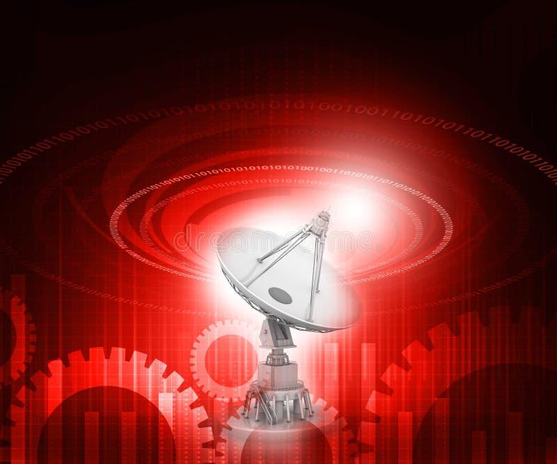 bilden för datoren för antennen 3d frambragda framför maträtten satelliten vektor illustrationer