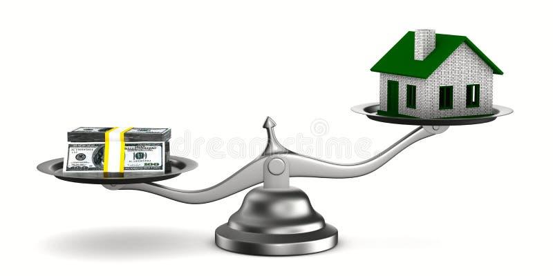 bilden för huset 3d isolerade pengarscales stock illustrationer