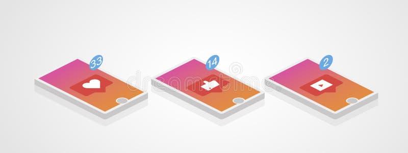 bilden för nätverket 3d framförde samkväm Telefonuppsättning i isometrisk stil Digitalt begrepp för massmedia vektor royaltyfri illustrationer