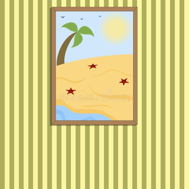 Bilden i en ram på en vägg, solig strand för sommar med gömma i handflatan och sjöstjärnor, vektorn, eps10 stock illustrationer