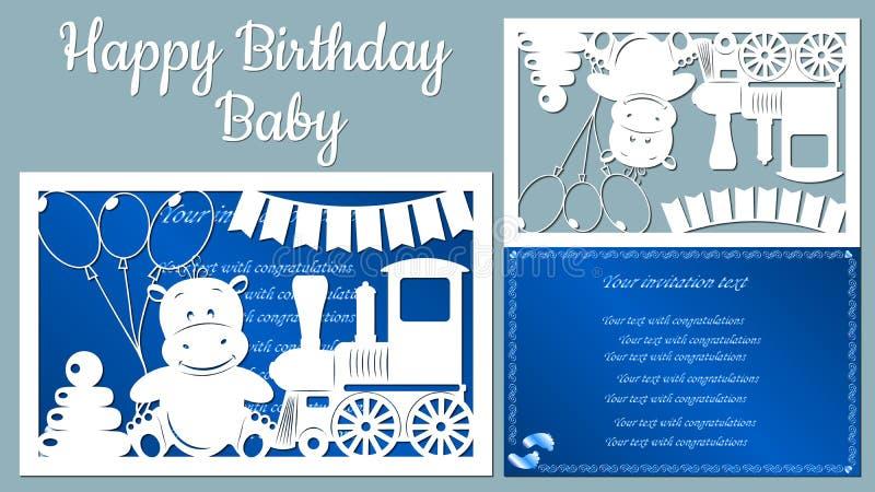 Bilden med denlyckliga födelsedagen behandla som ett barn Mall med vektorillustrationen av leksaker Djur på drevet för royaltyfri illustrationer