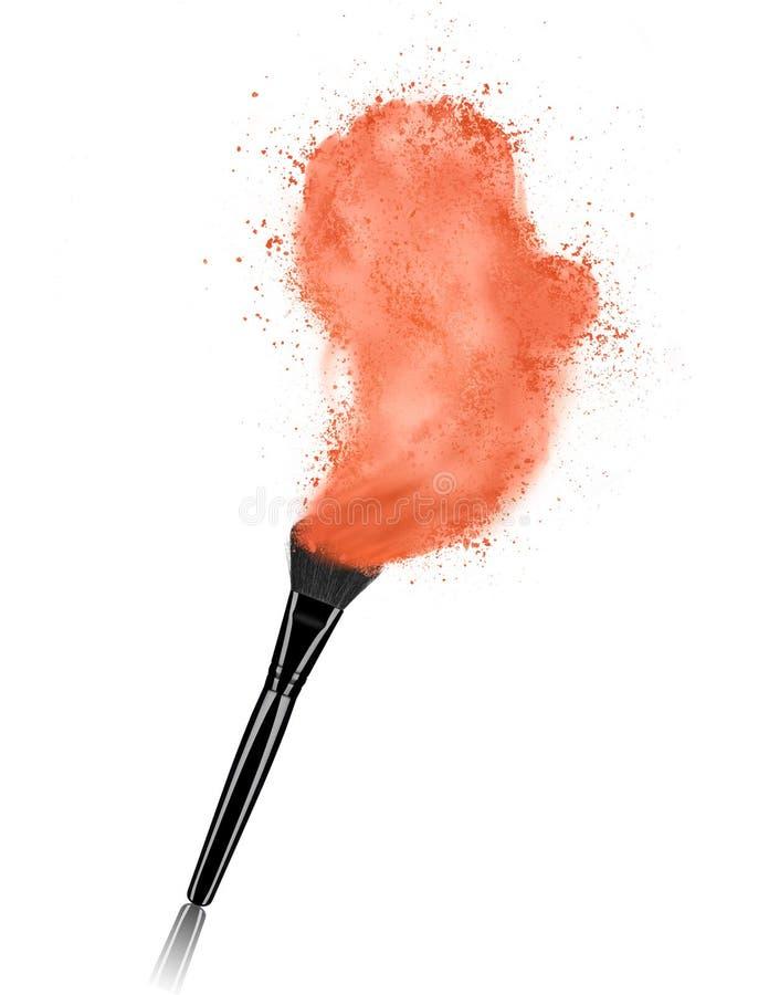 Bilden Sie Bürste mit dem kosmetischen Pulverspritzen, das auf Weiß lokalisiert wird stock abbildung