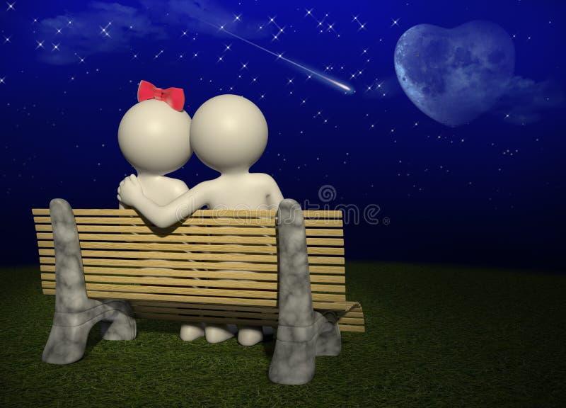 Bilden Sie einen Wunsch meine Liebe - Paar 3d lizenzfreie abbildung