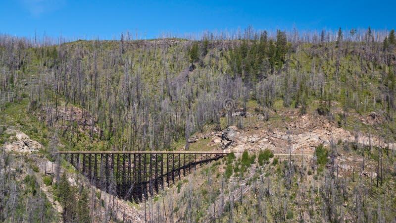 Bilden Sie Gestell auf der Kessel-Tal-Eisenbahn nahe Kelowna, Kanada aus stockfoto