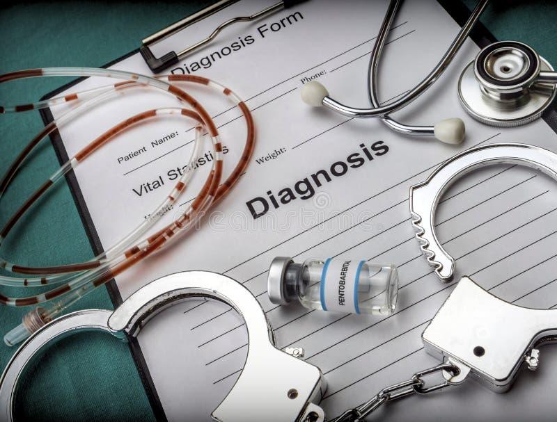 Bilden Sie sich von der Diagnose und von der Entschließung der Euthanasie lizenzfreies stockbild