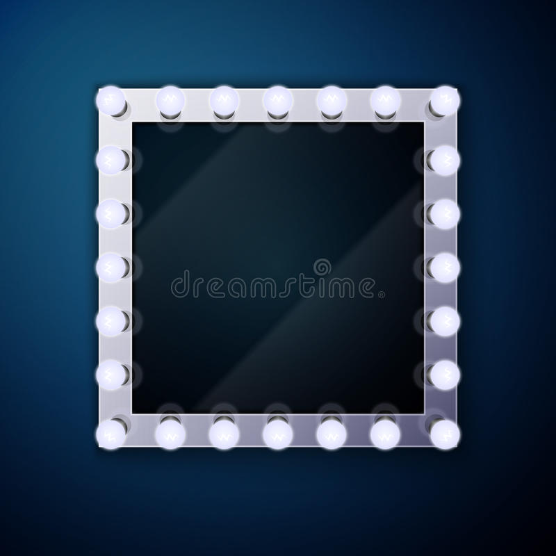 Bilden Sie Spiegel mit Glühlampen stock abbildung