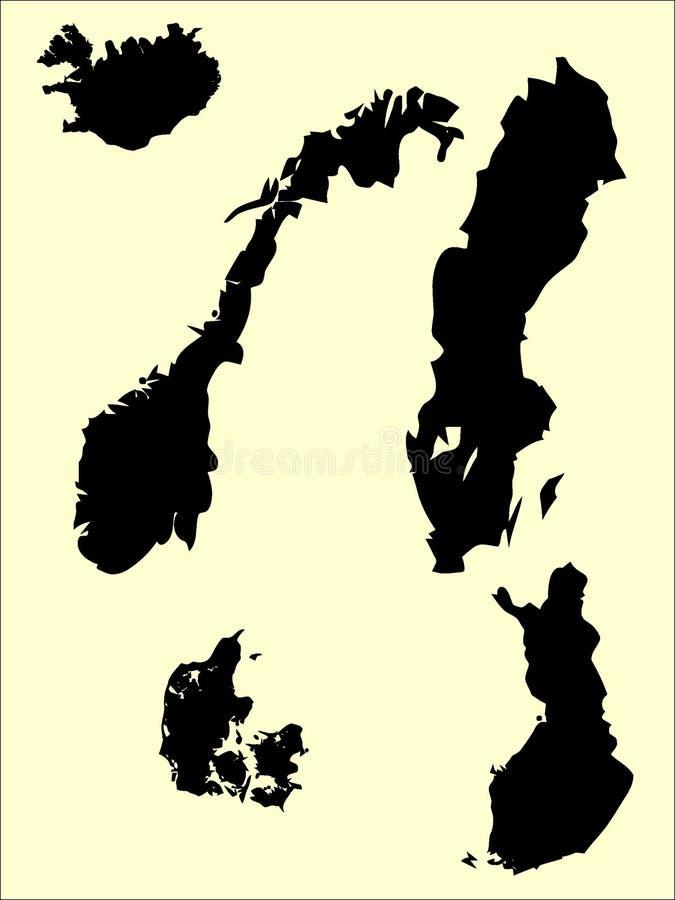 Bilden ställde in av översikter av Skandinavien stock illustrationer