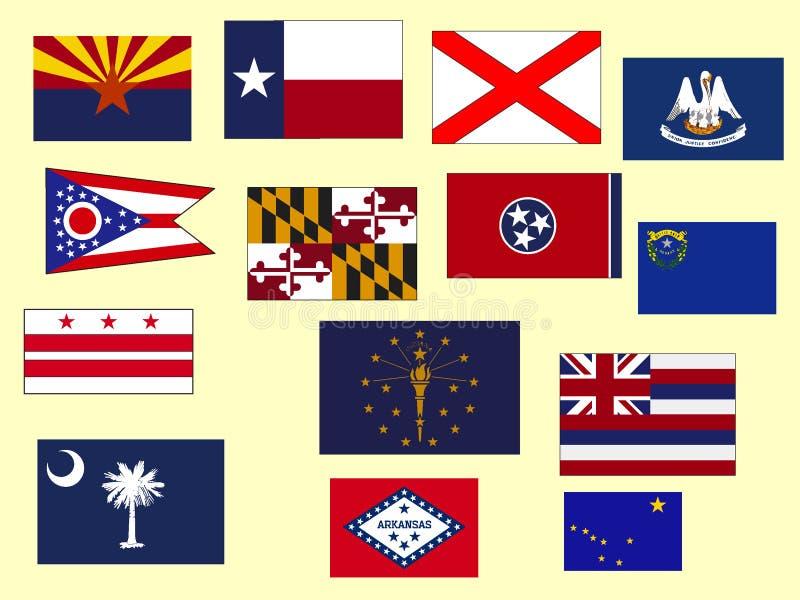 Bilden ställde in av flaggor av USA tillstånd royaltyfri illustrationer