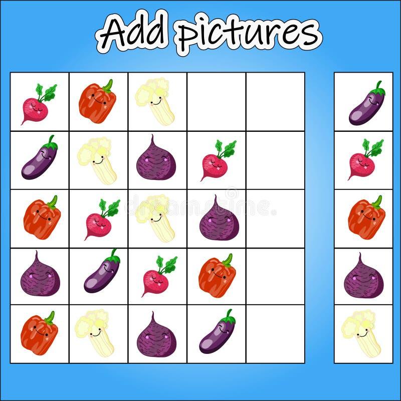 Bilden Sudoku är en bildande lek för utvecklingen av logiskt tänka för barn s Nivå av svårighet 1 Temagrönsaker stock illustrationer