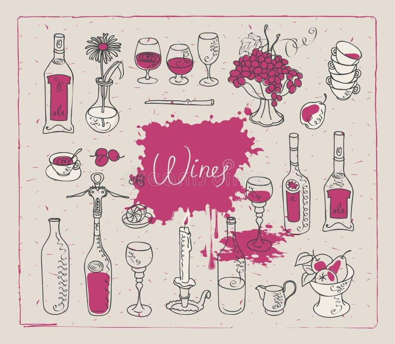 Bilder auf dem Thema des Weins vektor abbildung