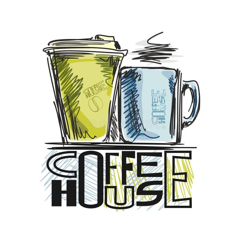 Bilder auf Kaffee lizenzfreie abbildung
