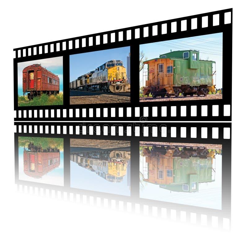 Bilder av att resa med tåg på en filmremsa royaltyfri illustrationer
