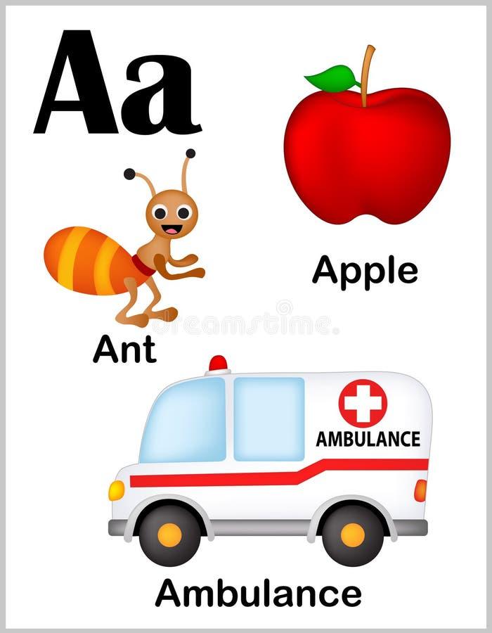 Bilder för alfabetbokstav A royaltyfri illustrationer
