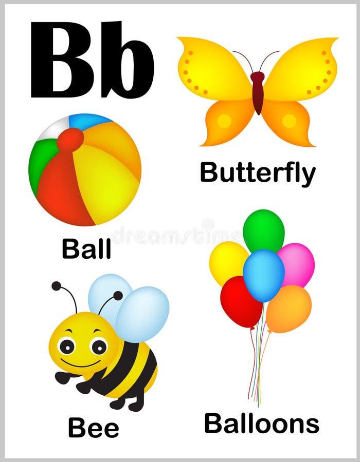 Bilder för alfabetbokstav B royaltyfri illustrationer