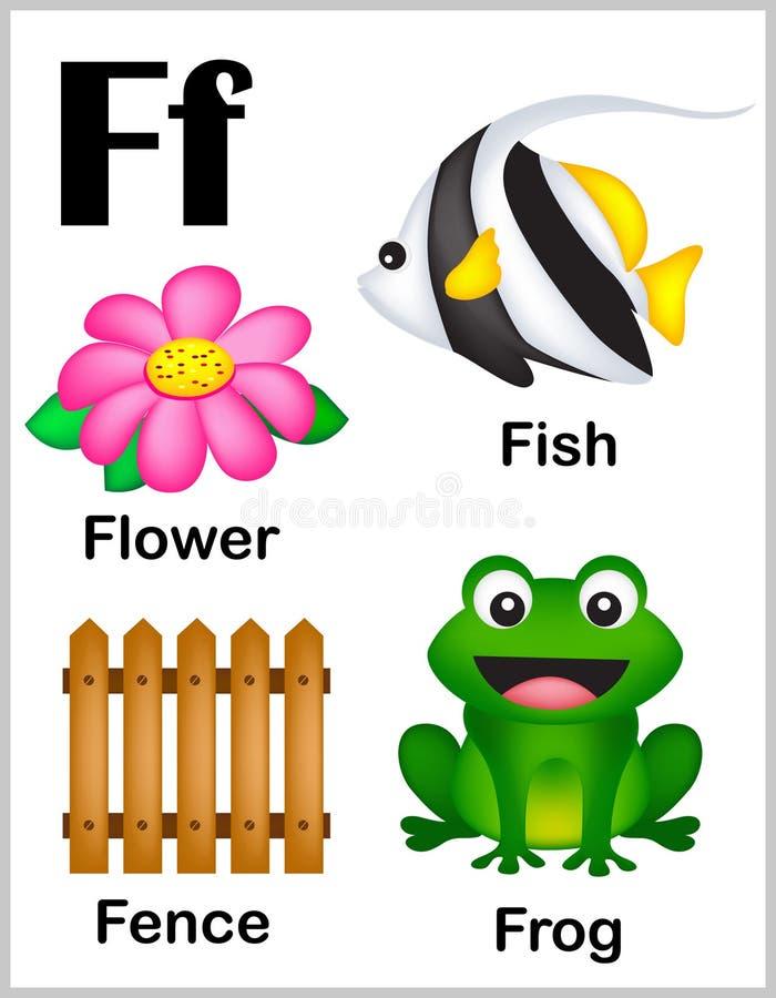Bilder för alfabetbokstav F royaltyfri illustrationer