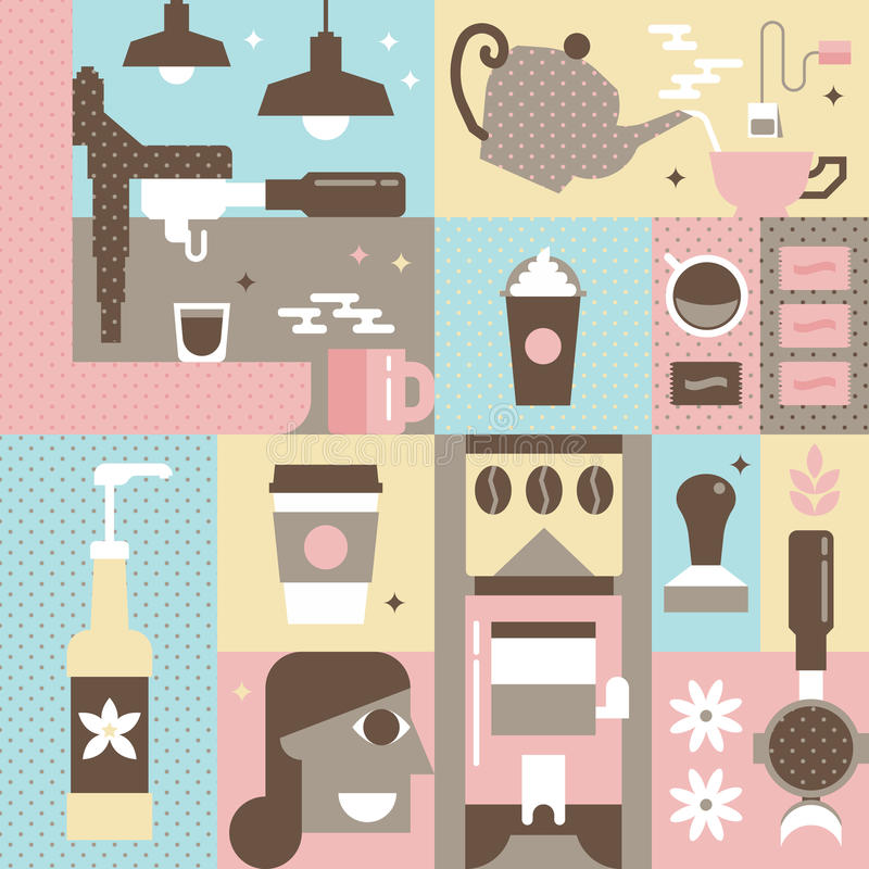 bilder för kaffesamlingsbegrepp royaltyfri illustrationer