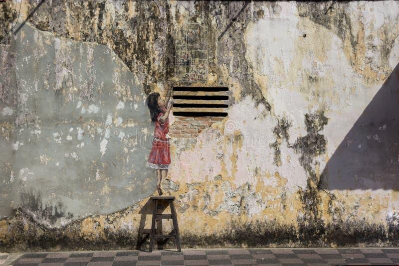 Bilder Georgetowns Malaysia auf einer Wand Penang stockbild