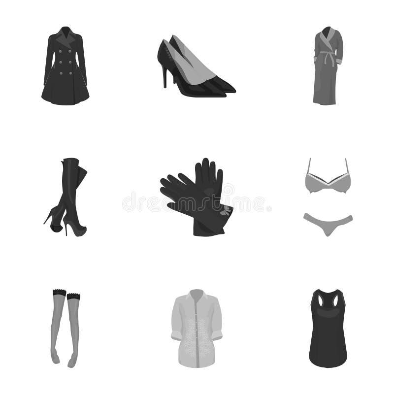 Bilder om typer av kläder för kvinna` s Outerwear och underkläder för kvinnor och flickor Kvinnan beklär symbolen i uppsättning stock illustrationer