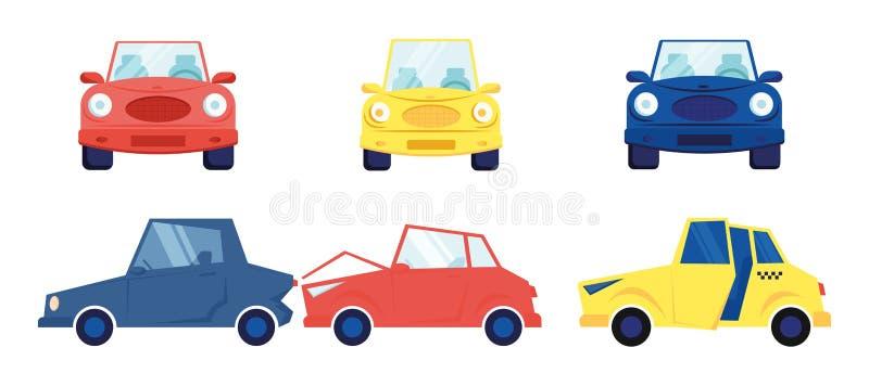 Bilder som är isolerade i vit bakgrund Olika situationer med flera färgade Sedan Cars Front and Side View Taxi Cab Accident Situa royaltyfri illustrationer