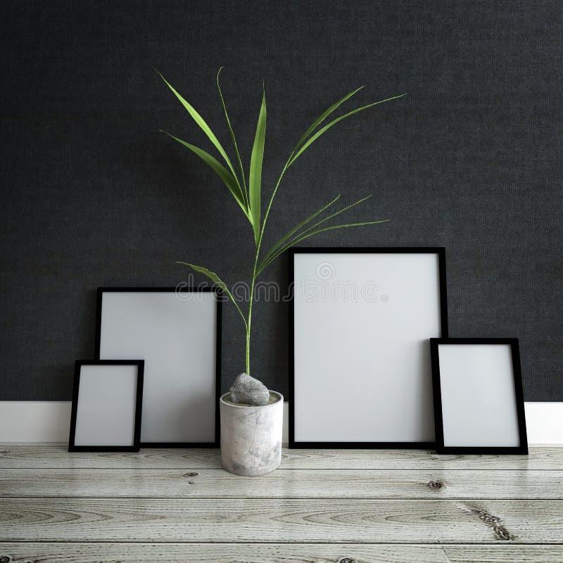 Bilderrahmen und Topfpflanze innerhalb des modernen Hauses lizenzfreie stockfotos